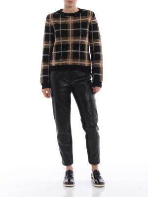 ALBERTA FERRETTI: pantaloni in pelle online - Pantaloni in pelle con bande in maglia