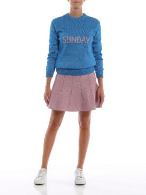 ALBERTA FERRETTI: minigonne online - Minigonna godet in lamé  rosa forte
