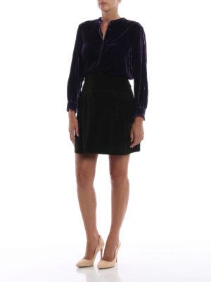 ALBERTA FERRETTI: minigonne online - Minigonna in velluto millerighe verde scuro