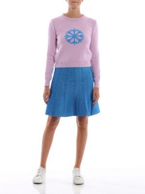 ALBERTA FERRETTI: minigonne online - Minigonna godet in lamé blu elettrico