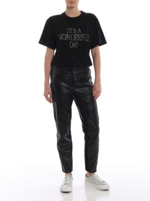 ALBERTA FERRETTI: t-shirt online - T-shirt nera con ricamo gioiello