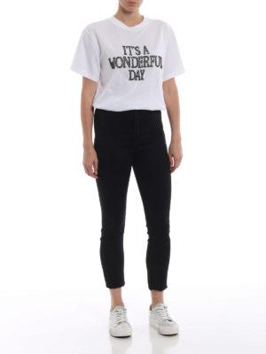 ALBERTA FERRETTI: t-shirt online - T-shirt bianca con ricamo gioiello