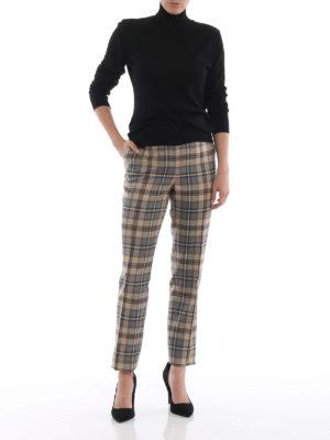 ALBERTA FERRETTI: Pantaloni sartoriali online - Pantalone in lana a quadri grigio e beige