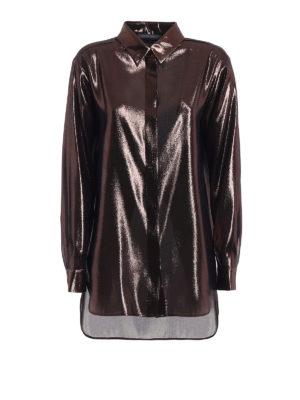 Alberta Ferretti: shirts - Bronze shining lamé long shirt