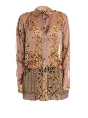 Alberta Ferretti: shirts - Floral print oversized silk shirt
