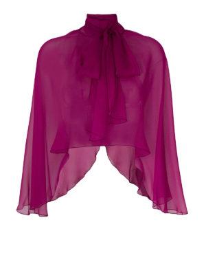 Alberta Ferretti: Stoles & Shawls - Fuchsia silk chiffon stole