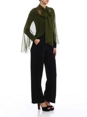 Alberta Ferretti: Stoles & Shawls online - Olive green silk chiffon stole