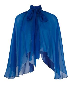 Alberta Ferretti: Stoles & Shawls - Royal blue silk chiffon stole