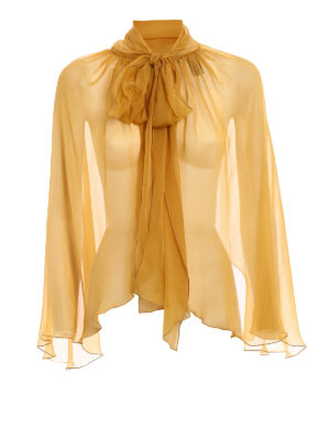 Alberta Ferretti: Stoles & Shawls - Yellow silk chiffon stole