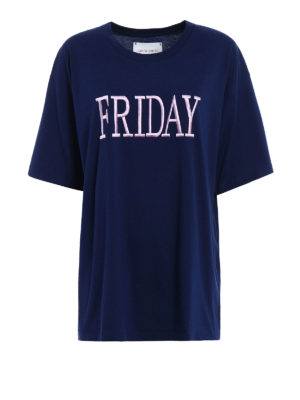 Alberta Ferretti: t-shirts - Friday blue cotton Tee