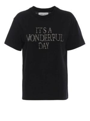ALBERTA FERRETTI: t-shirt - T-shirt nera con ricamo gioiello