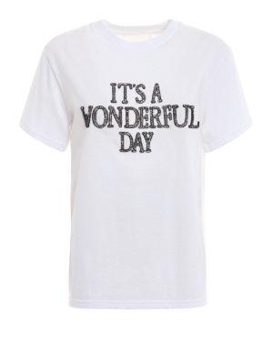 ALBERTA FERRETTI: t-shirt - T-shirt bianca con ricamo gioiello