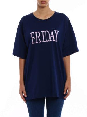 Alberta Ferretti: t-shirts online - Friday blue cotton Tee