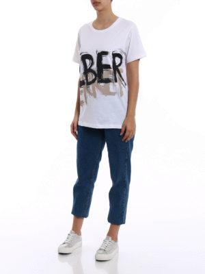Alberta Ferretti: t-shirts online - Two-tone logo cotton T-shirt