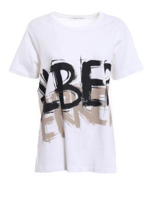 Alberta Ferretti: t-shirts - Two-tone logo cotton T-shirt