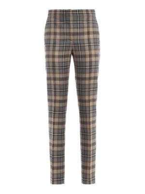 ALBERTA FERRETTI: Pantaloni sartoriali - Pantalone in lana a quadri grigio e beige