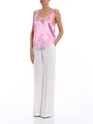 Alberta Ferretti: Tailored & Formal trousers online - White crepe wide leg trousers