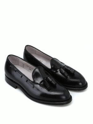 ALDEN: Mocassini e slippers online - Mocassini neri in pelle spazzolata Horween