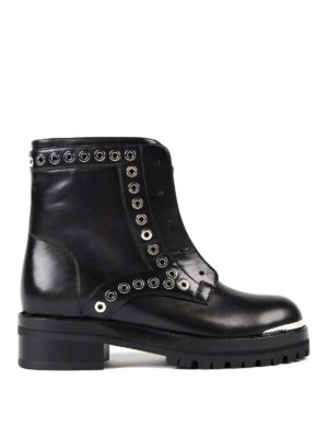 Alexander Mcqueen: ankle boots - Leather biker ankle boots