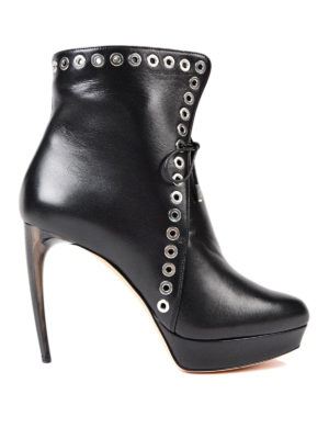 Alexander Mcqueen: ankle boots - Leather heeled  booties