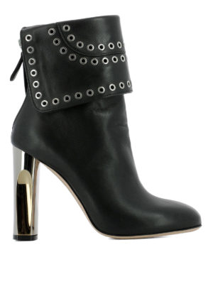 Alexander Mcqueen: ankle boots - Leather heeled booties with eyelets