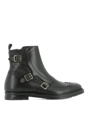 Alexander Mcqueen: ankle boots - Monk leather ankle boots