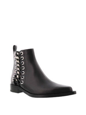 Alexander Mcqueen: ankle boots online - Leather ankle boots with chain