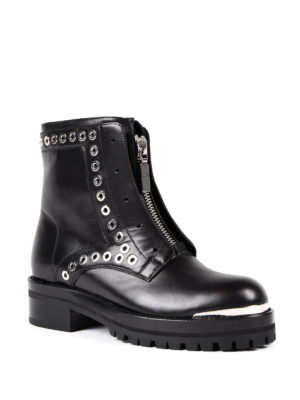 Alexander Mcqueen: ankle boots online - Leather biker ankle boots