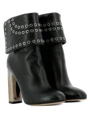 Alexander Mcqueen: ankle boots online - Leather heeled booties with eyelets