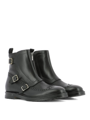 Alexander Mcqueen: ankle boots online - Monk leather ankle boots