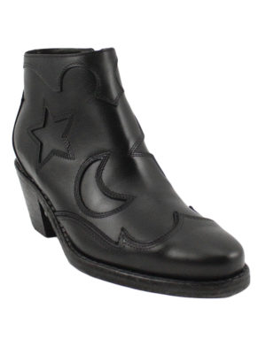 Alexander Mcqueen: ankle boots online - Star and moon inlays booties