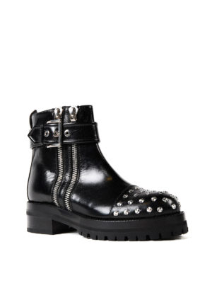 Alexander Mcqueen: ankle boots online - Studded leather double zip booties