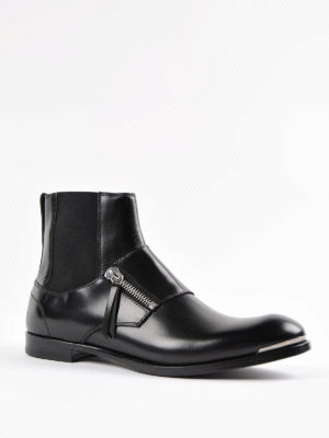 Alexander Mcqueen: ankle boots online - Zipped leather slip-on booties