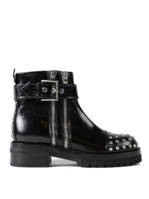 Alexander Mcqueen: ankle boots - Studded leather double zip booties