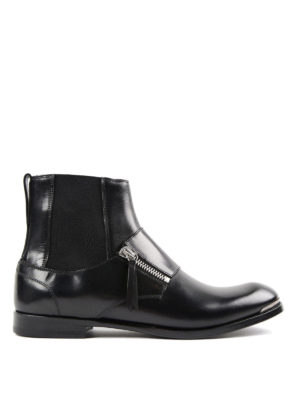 Alexander Mcqueen: ankle boots - Zipped leather slip-on booties