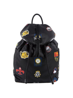 Alexander Mcqueen: backpacks - Emblem printed nylon backpack