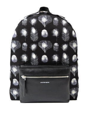 Alexander Mcqueen: backpacks - Feather print nylon backpack