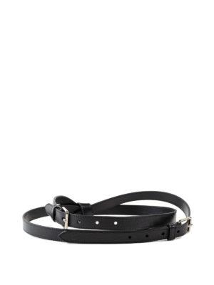 ALEXANDER MCQUEEN: cinture - Cintura a doppio giro in pelle nera