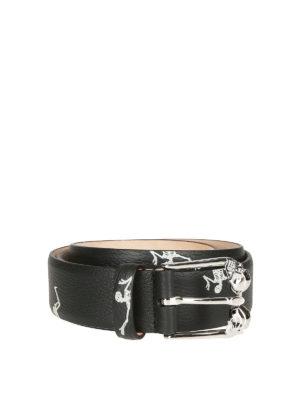 ALEXANDER MCQUEEN: cinture - Cintura in pelle a grana Dancing Skeleton