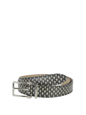 Alexander Mcqueen: belts - Leather belt with skulls