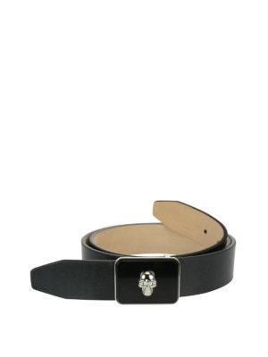 Alexander Mcqueen: belts - Skull buckle leather belt