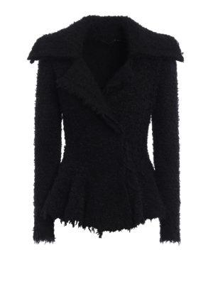 Alexander Mcqueen: blazers - Boucle flounced mohair blend jacket
