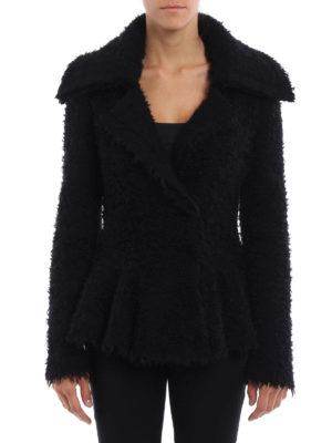 Alexander Mcqueen: blazers online - Boucle flounced mohair blend jacket