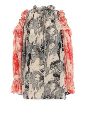 ALEXANDER MCQUEEN: bluse - Blusa in seta stampa Eve con spalle scoperte