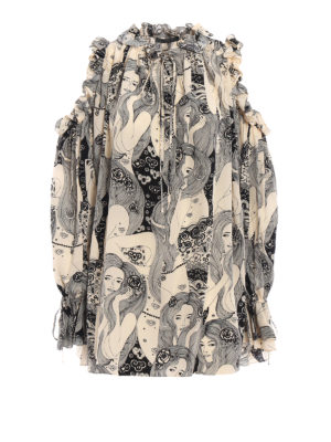 ALEXANDER MCQUEEN: bluse - Blusa over Eve in seta stampata
