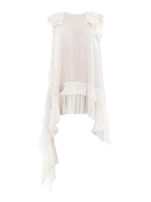 ALEXANDER MCQUEEN: bluse - Blusa asimmetrica in seta bianca