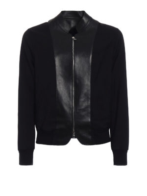 Alexander Mcqueen: bombers - Leather panelled wool bomber