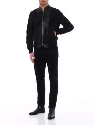 Alexander Mcqueen: bombers online - Leather panelled wool bomber