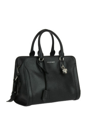 Alexander Mcqueen: bowling bags online - Skull padlock leather bag