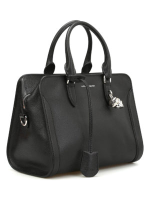 Alexander Mcqueen: bowling bags online - Small Padlock leather bowling bag